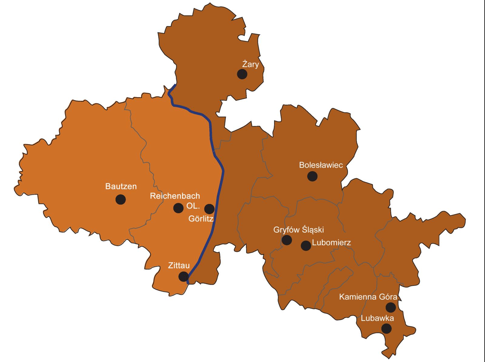 Karte Sachsen und Niederschliesien mit Städte